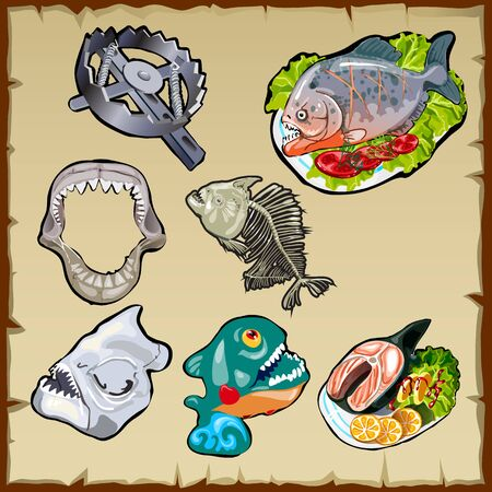 piranha: Vector set, food, traps, jaw and other image of piranha Illustration