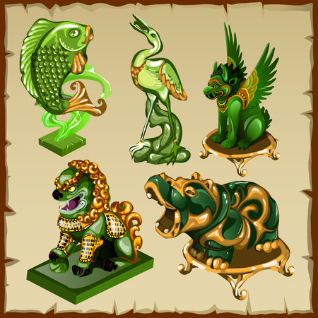 animal figurines: Five various animal figurines made of malachite and gold