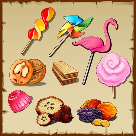 Set of sweets and dried fruits, nine vector icons