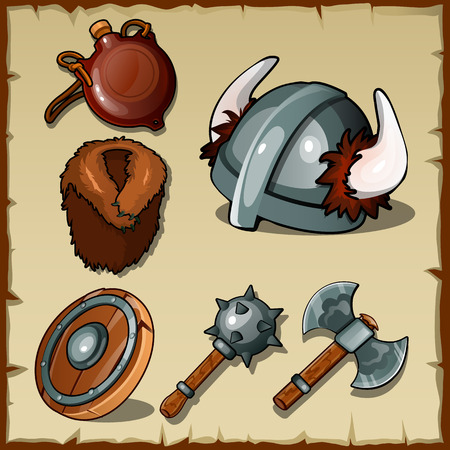 outlander: Vector set of the Vikings weapons and equipments