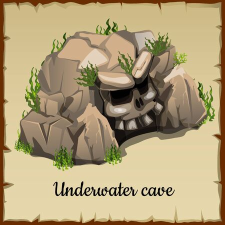 hideout: Scary underwater cave with the skull and grass, vector illustration Illustration