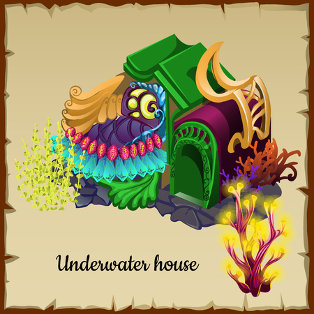 resident: Magical underwater house a resident of the sea, vector illustration