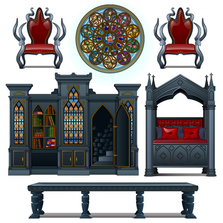 apartment suite: Set of vintage design furniture of the medieval house