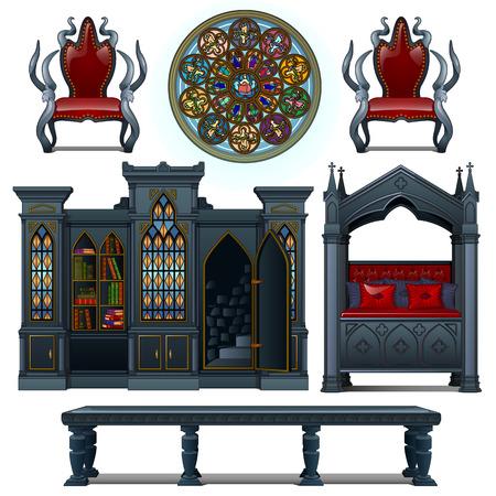 Set van vintage design meubelen van de middeleeuwse huis Vector Illustratie
