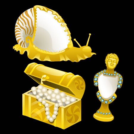 bust: Golden figurines of shells, snails and bust, three vector items