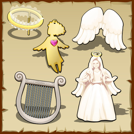 angelic: Set of angelic, halo, harp, wings and other, five vector items