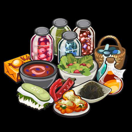 Set of home cooking and canning vegetables, vector illustration  イラスト・ベクター素材