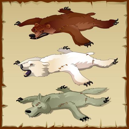 Skins set van dieren in het bos, beren en wolven, drie vector afbeeldingen