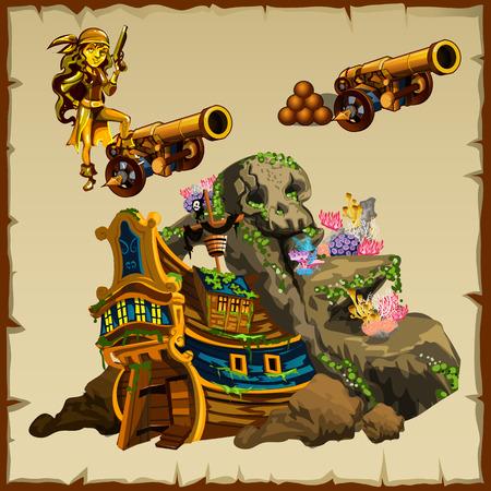 Gezonken schip, pistool en figuur van het meisje piraten, reeks van drie vector