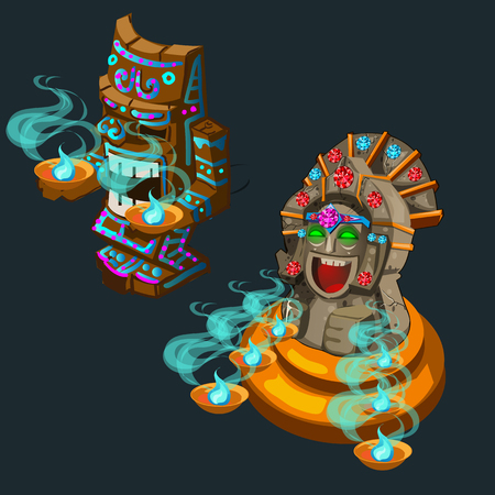 ritual: Two cartoon ancient ritual of deity, vector illustration Illustration