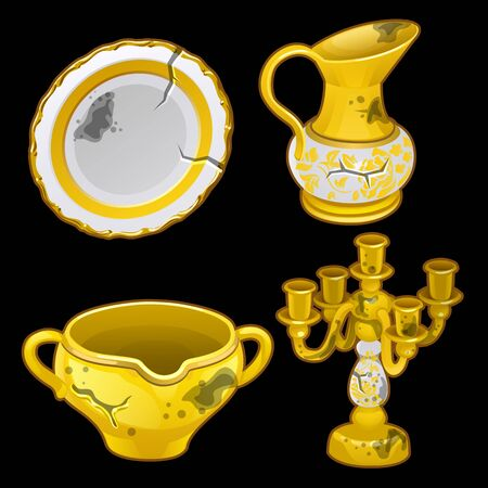 old items: Greek old dishes and candlesticks, set of four vector items