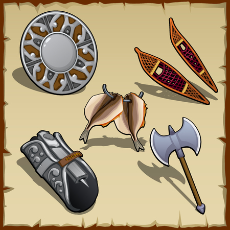 cartoon fishing: Vintage equipment of a medieval warrior, five items Illustration