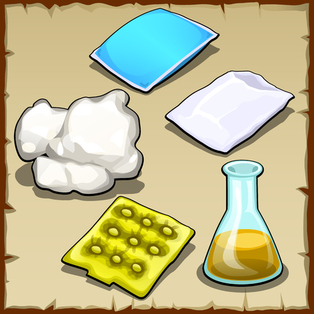 cartoon bottle: Chemist vector set of pillows, cotton, bandages and flasks