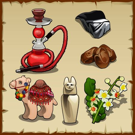 hump: Set of Oriental elements and accessories, camel, hookah Illustration