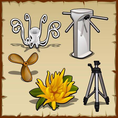 tourniquet: Vector set of hangers, tourniquet, flower and tripod