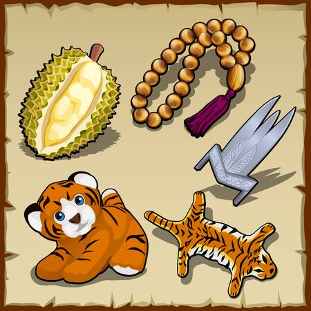 tropical fruit: Tiger set, beads and exotic items, five vector images