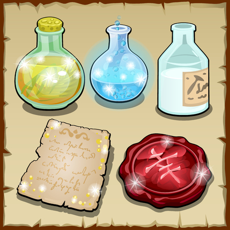 cartoon bottle: Three bottles of potion and wax, vector set