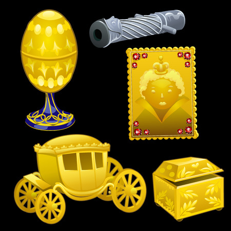 relics: Vector set of golden Royal items on a black background