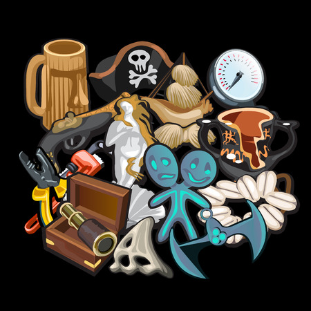 toy chest: Set of pirate accessories, tools and toys on a black background