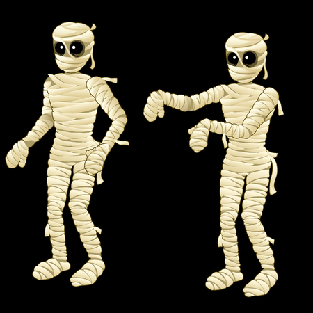mummified: Two cute mummy on a black background, vector illustration
