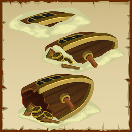 sliver: Three parts of the destroyed ship on a background of parchment Illustration