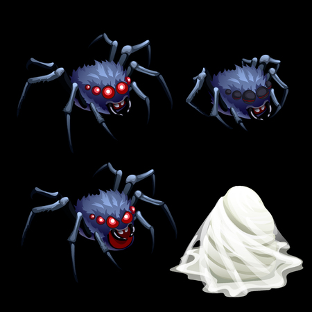arachnophobia: Three spider with red eyes and a cocoon web, four vector element