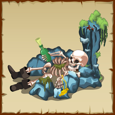 curse: Skeleton of a man in boots with bottle on the pitfalls