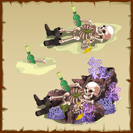 sunken: Three vector image of a sunken skeleton with a bottle
