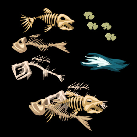 Skeletons fish, track and other items on a black background Illustration