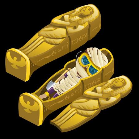 tutankhamen: Cartoon image of sarcophagus and funny mummy in glasses