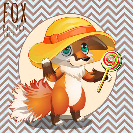 brooding: Pensive Fox in the hat with Lollipop, vector illustration Illustration