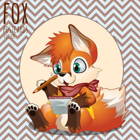 writer: Cute orange Fox writer, series of vector illustrations