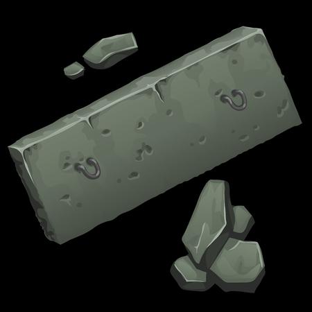erection: Concrete slab and rocks on black background, vector illustration Illustration
