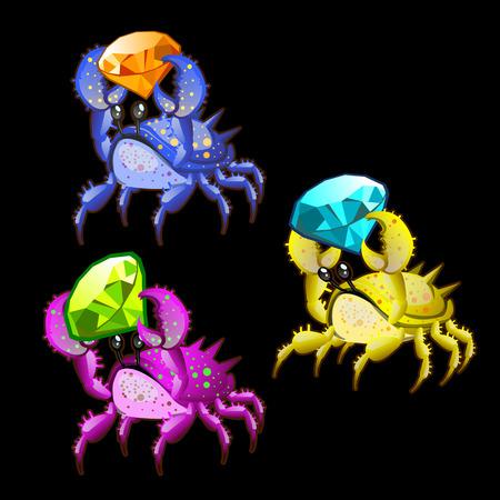 cangrejo caricatura: Tres de cangrejo colorido con piedras preciosas en las garras en un fondo negro Vectores