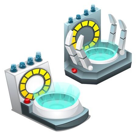 science background: Portal teleportation, two vector image on white background Illustration