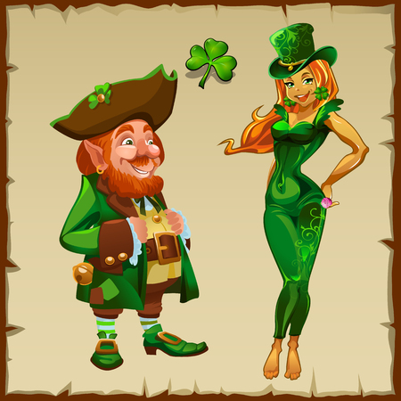 female leprechaun: Leprechaun and a beautiful blonde in green, the symbols of the holiday