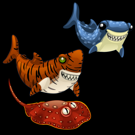 exotic fish: Set of two funny shark and Stingray on a black background
