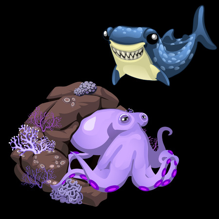 subaqueous: Purple octopus and blue shark, two cute vector characters