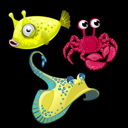 cray: Set of three fish, Stingray, crab and cute yellow bigeye
