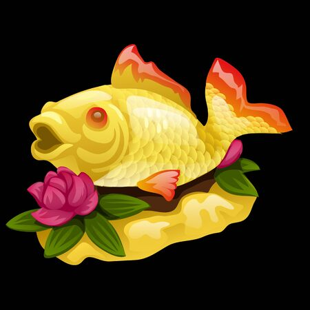Goldfish and water Lily on a black background, vector illustration