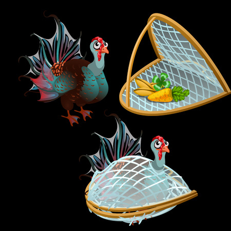 Turkey is trapped and some vegetables, vector illustration