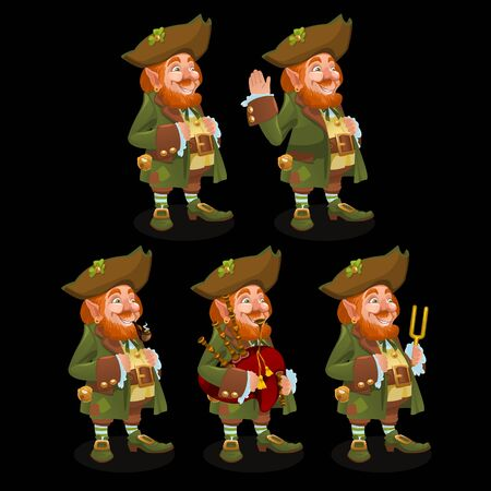 leprechauns: Set of five traditional leprechauns with different objects
