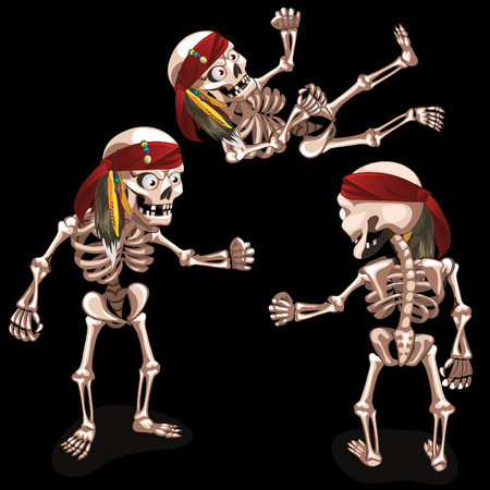 ghastly: Set of three evil pirates skeletons on a black background Illustration