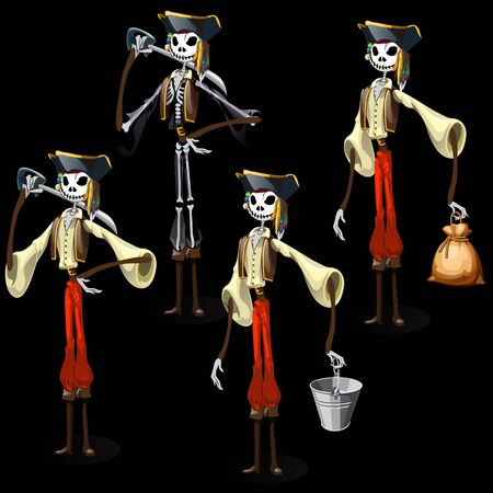 ghastly: Vector set of five pirates skeletons with different items