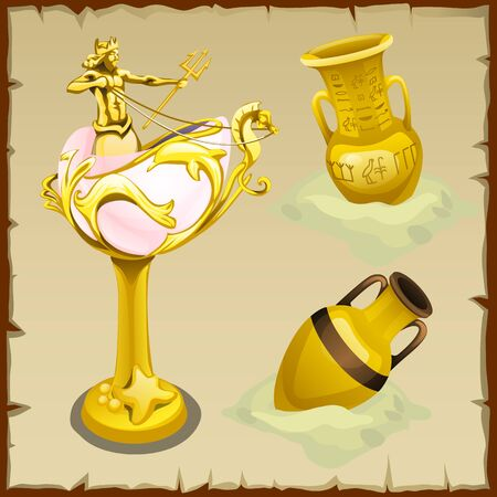 Set Of Antique Gold Vases And Shape King Of The Seas Royalty Free