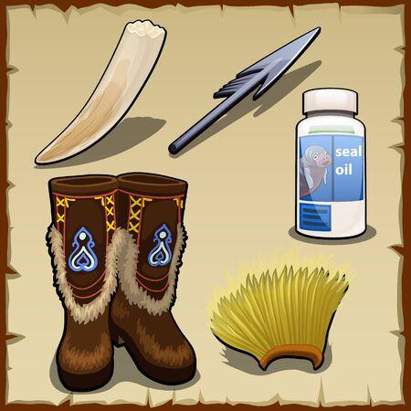 tusk: Eskimo vector set of tusk, harpoon, hat and seal fat Illustration