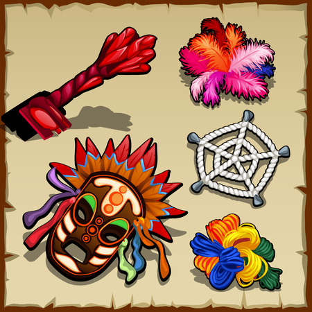 clan: Vector set of magic paraphernalia, key, ropes, and network Illustration
