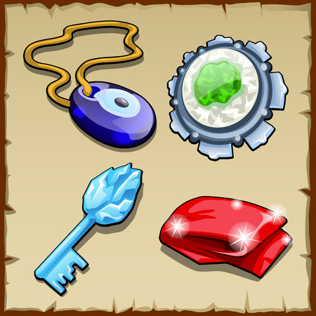 prana: Vector set of key, charms, magic stone and capes Illustration