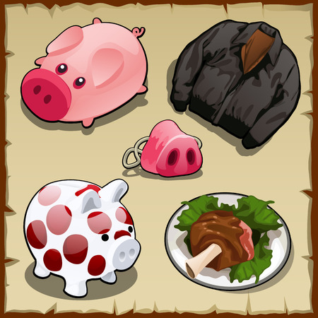 warm things: Set symbolism of pigs in different types of, 5 vector items