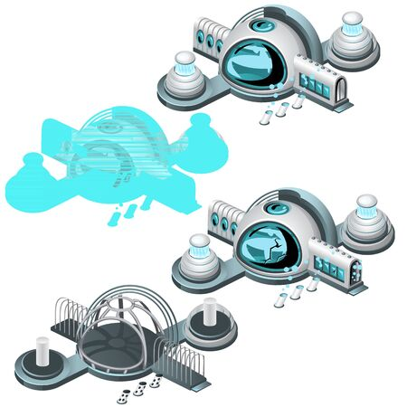 glass dome: Hologram undersea station, four vector illustrations type